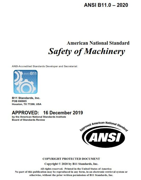 ANSI B11.0: Safety of Machines